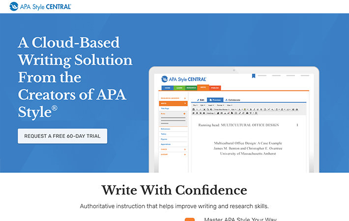 APA Style Central Website Landing Page Screenshot