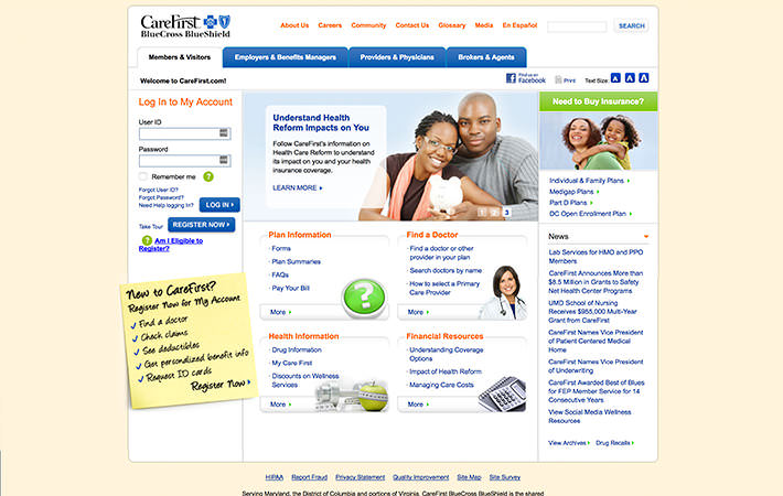Carefirst Website Homepage Screensheet
