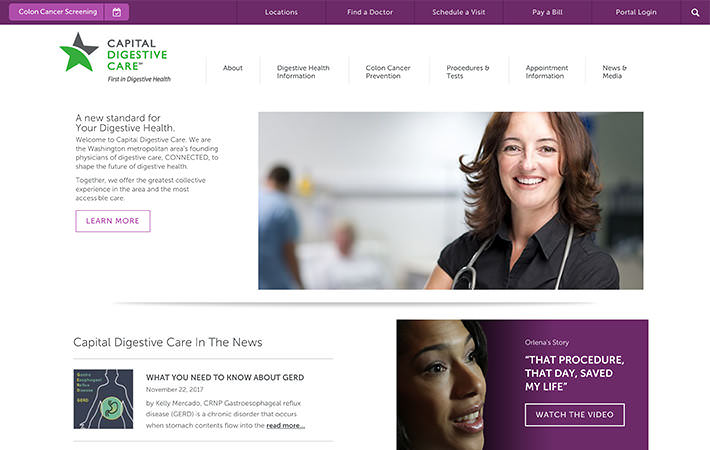 Capital Digestive Care Website Homepage Screenshot