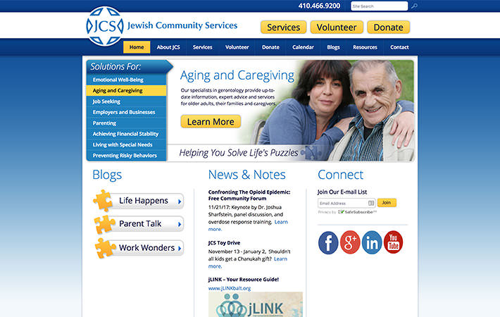 Jewish Community Center Website Homepage Screenshot