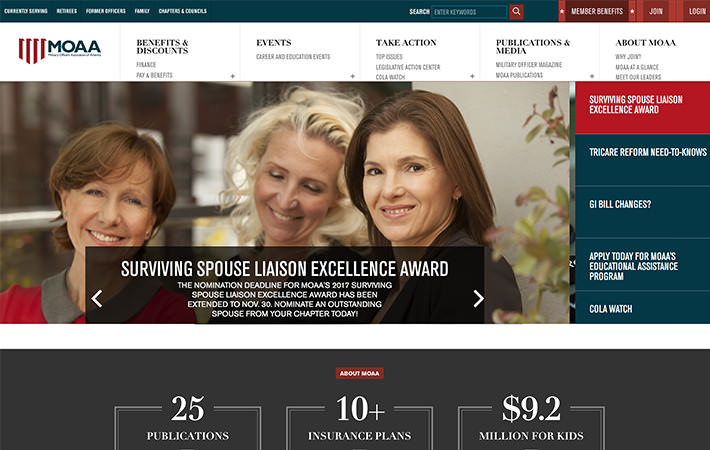 MOAA Website Homepage Screenshot