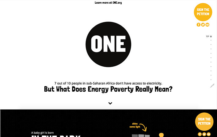 One Campaign: Energy Poverty Website Screenshot