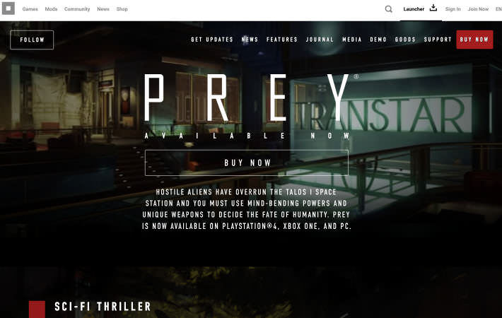 Prey Website Homepage Screenshot