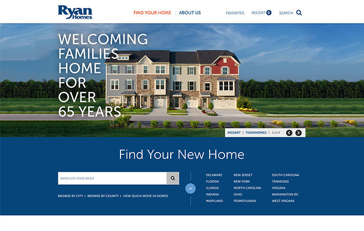 Ryan Homes Website Homepage Screenshot