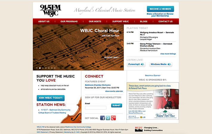 WBJC Website Homepage Screenshot